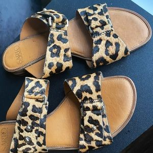 Real Leather and pony hair Leopard print sandals
